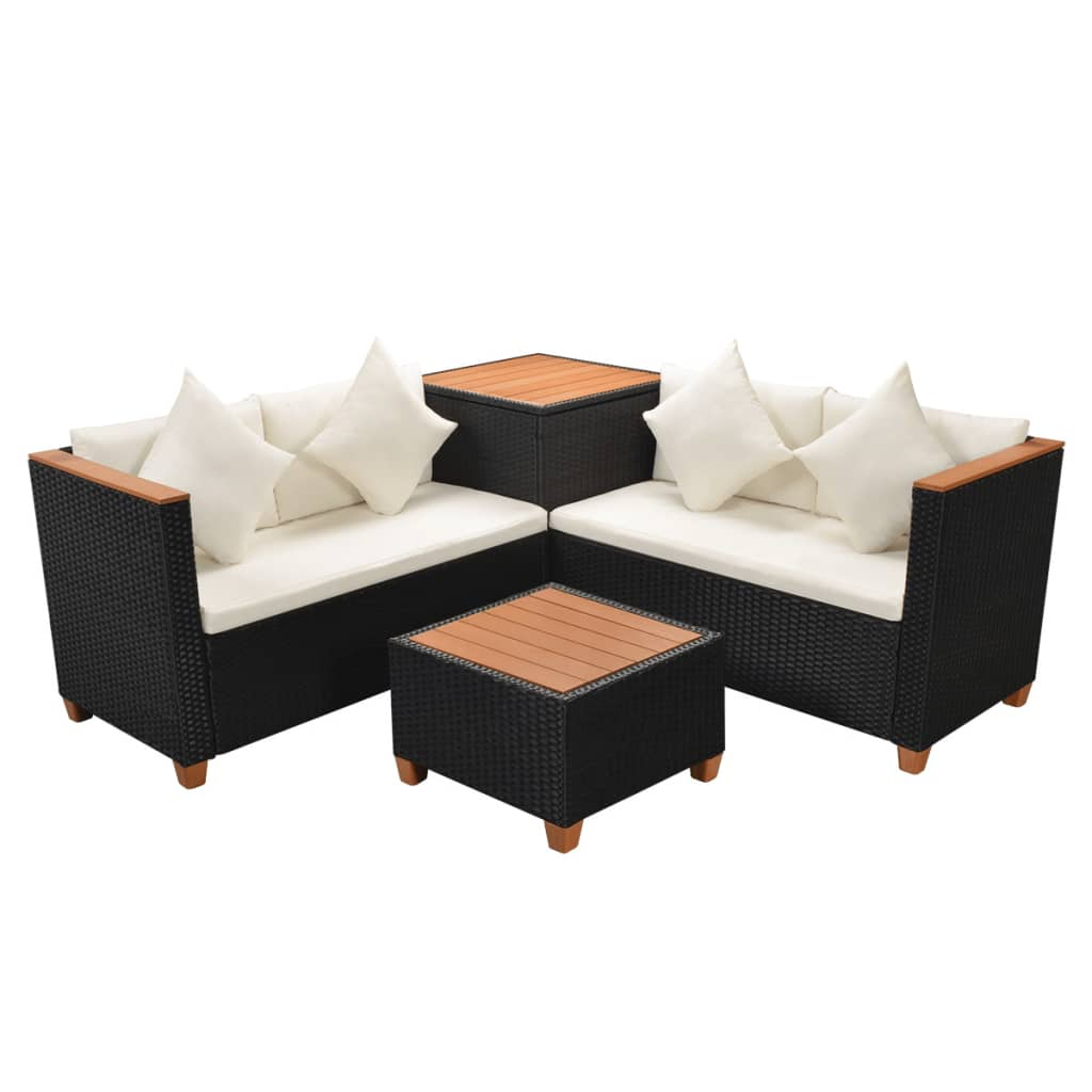 Outdoor Sofa Rattan Details About Vidaxl Garden Sofa Set 14 Piece Wicker Poly Rattan Black Wpc Outdoor Furniture