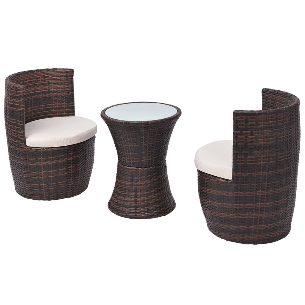 Table De Jardin Rotin Vidaxl Ensemble De Mobilier De Jardin 5 Pcs Poly Rotin Marron Salon De Jardin