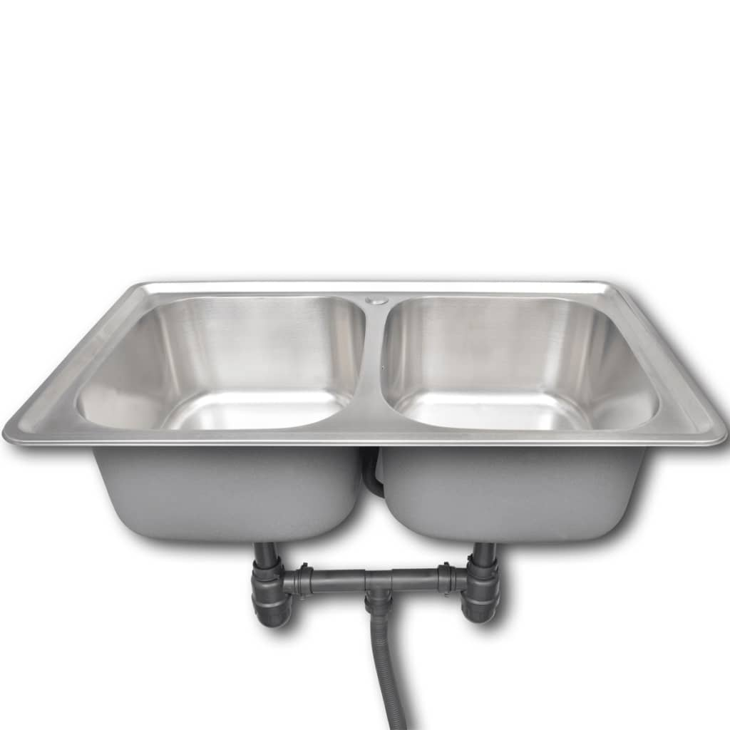 Stainless Steel Double Sink Kitchen Sink Stainless Steel Square With Drain Double
