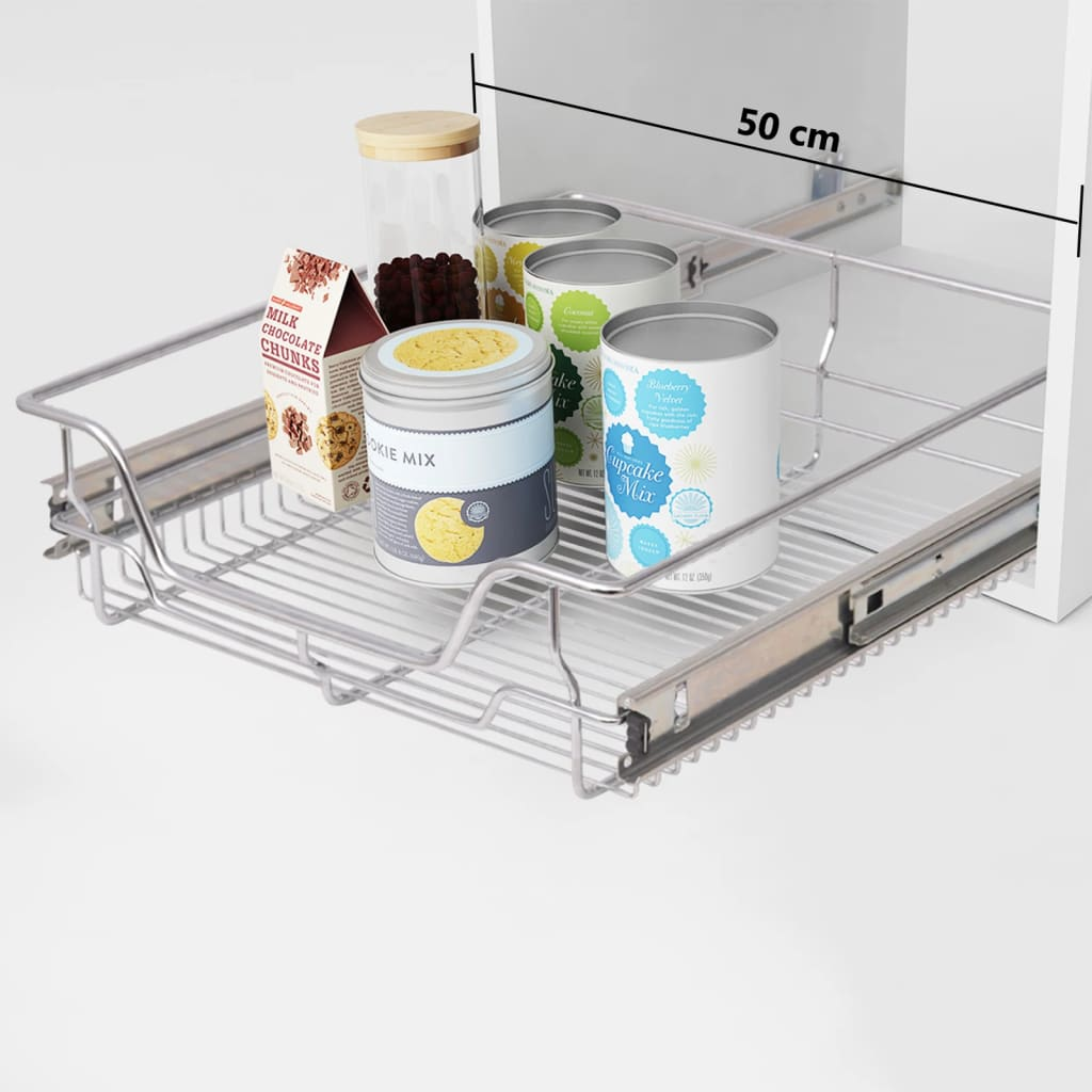 Pull Out Basket Vidaxl Pull Out Wire Baskets 2 Pcs Silver 500 Mm Vidaxl