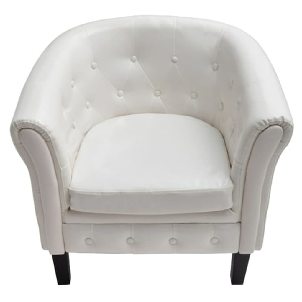 Everstyl Sessel Vidaxl Fauteuil Chesterfield Bois Massif Similicuir Blanc Capitonné Confort Neuf