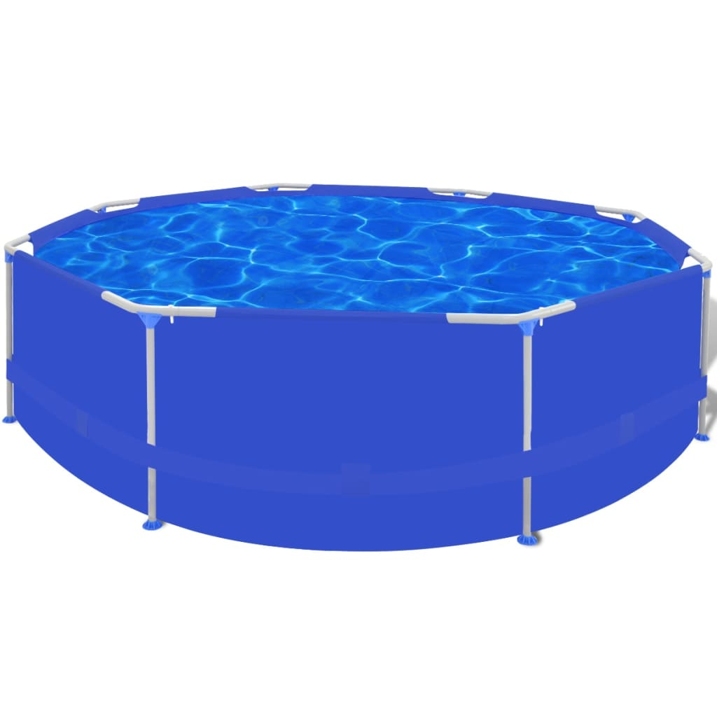 Frame Pool Rund 300 X 100 Round Swimming Pool With Steel Frame Blue 300 X 76 Cm