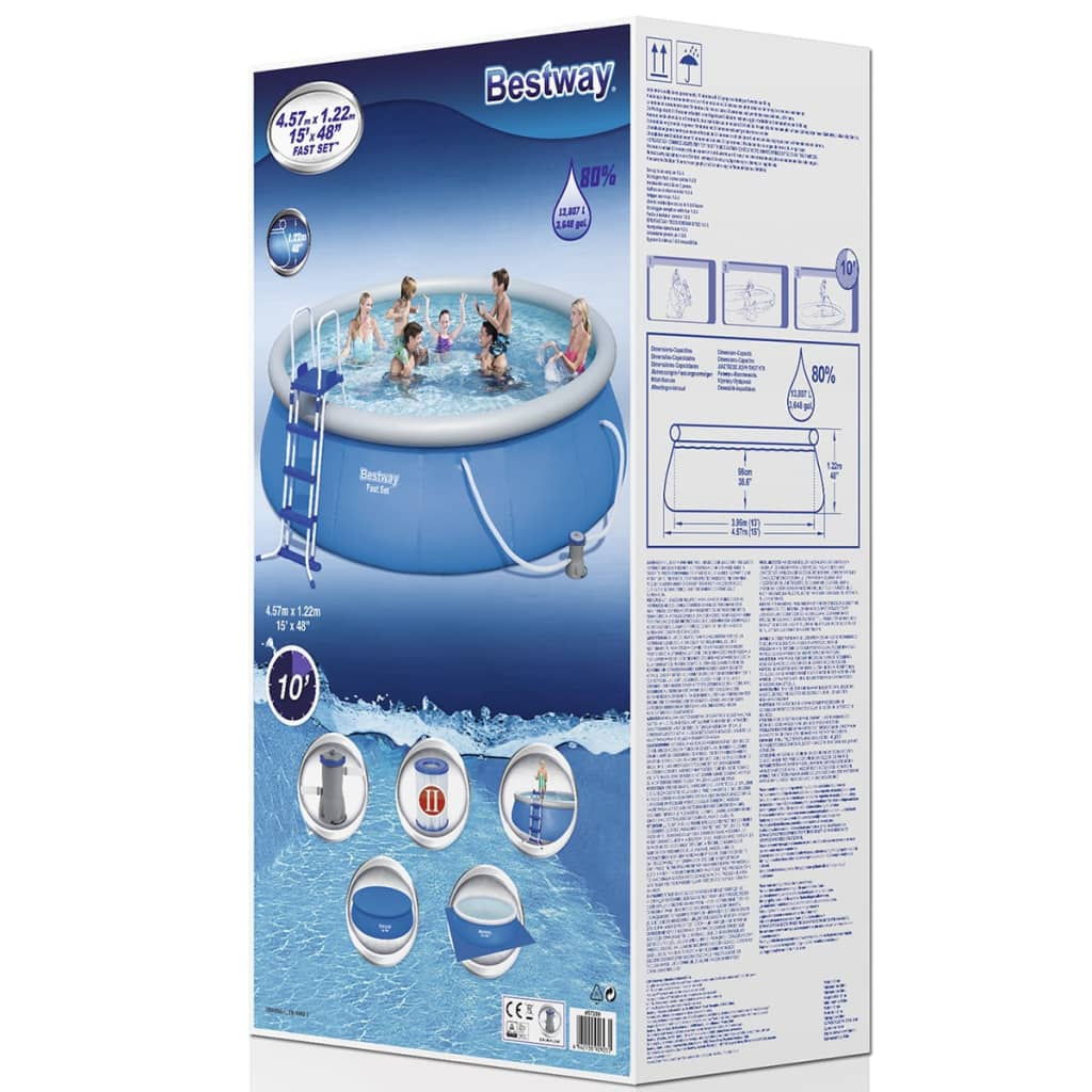Bestway Pools The Range Bestway Fast Set Round Inflatable Swimming Pool Set