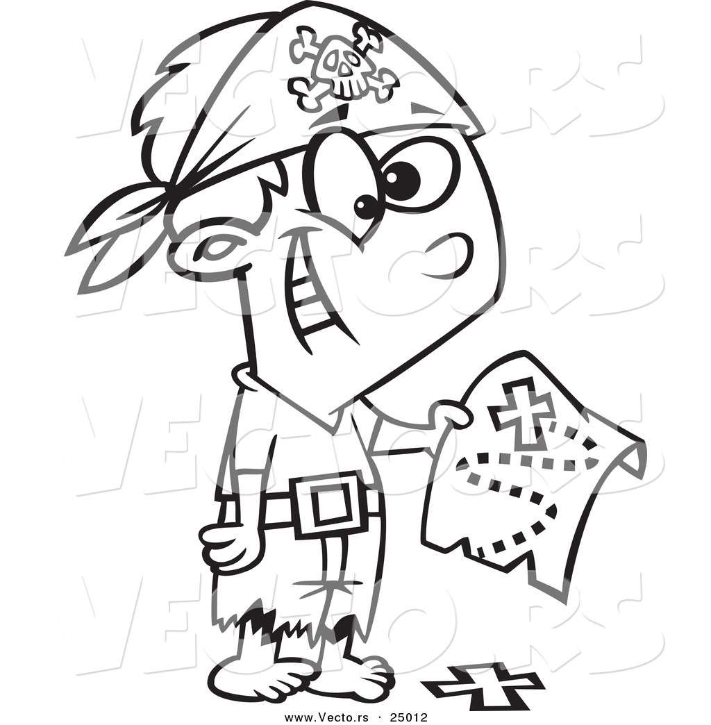 Coloring page x marks the spot vector of a cartoon pirate boy holding a map