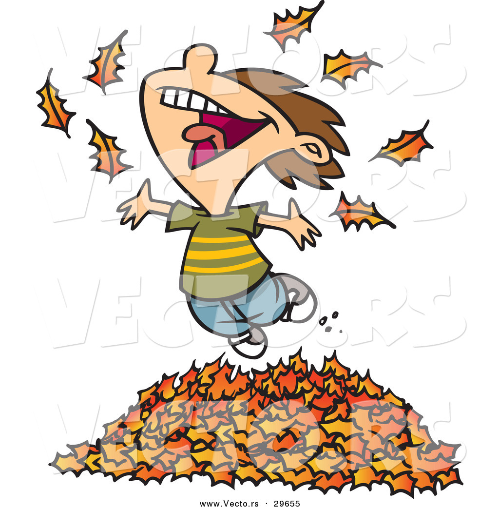 Wallpaper Hello Fall Vector Of A Happy Cartoon Boy Playing In A Pile Of Raked