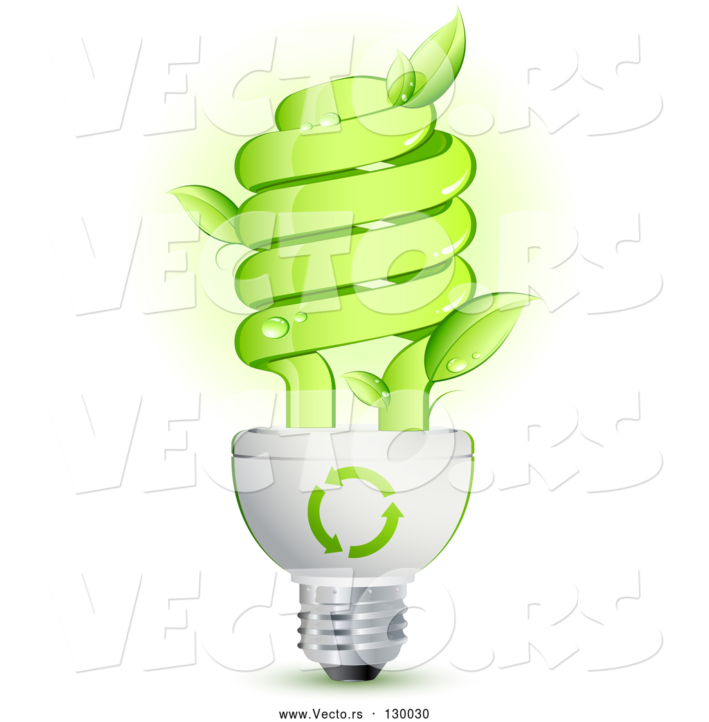 Glass Lamp Vector Vector Of Green Energy Efficient Lightbulb With Leaves