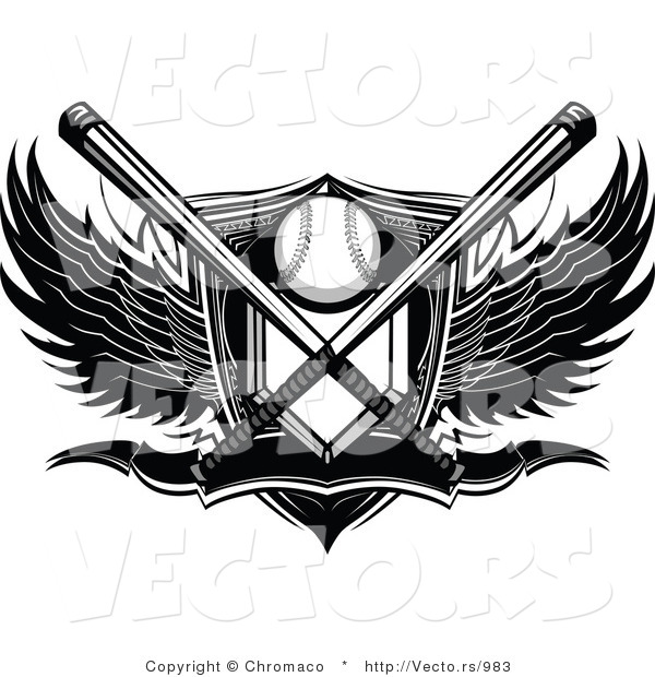 Vector of a Crossed Bats over Baseball Plate Shield Banner with - black and white basketball template