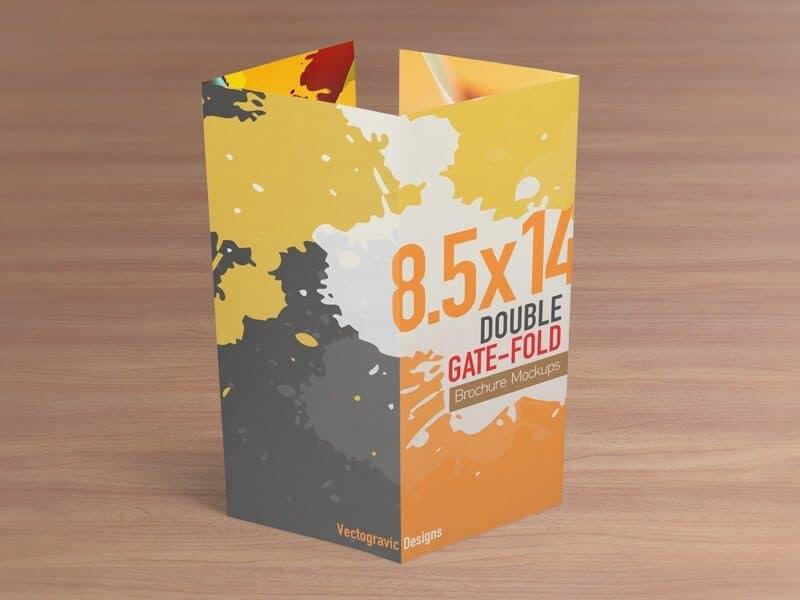 85×14 Double Gate Fold Brochure Mockups \u2013 Vectogravic Design - gate fold brochure mockup