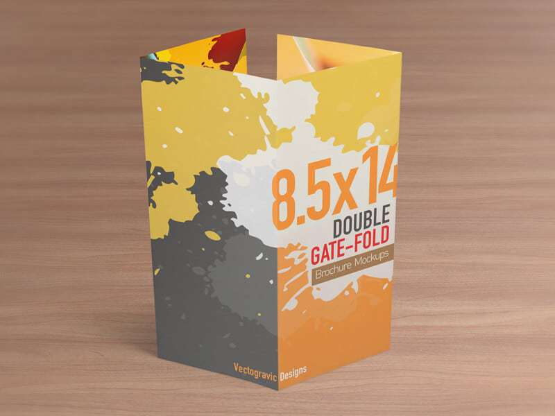 85x14 Double Gate Fold Brochure Mockups - gate fold brochure mockup