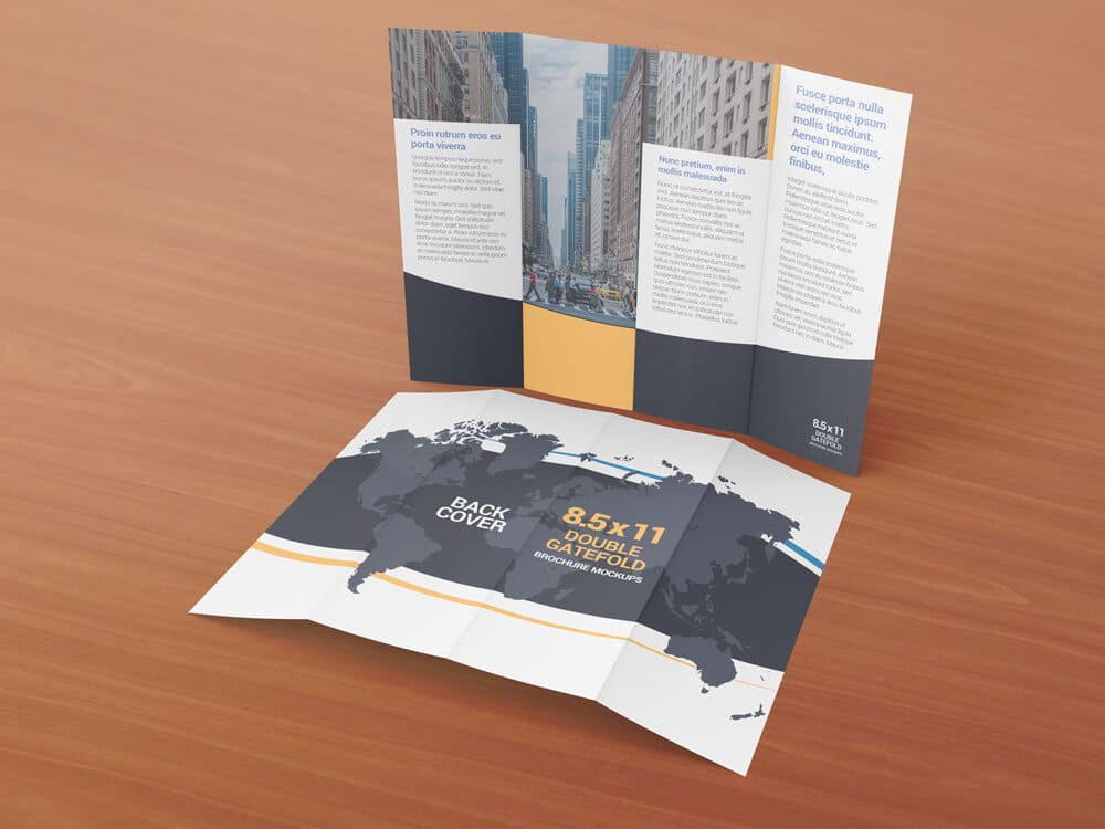 85 x 11 Double Gate Fold Brochure Mockups Vectogravic Design - gate fold brochure mockup