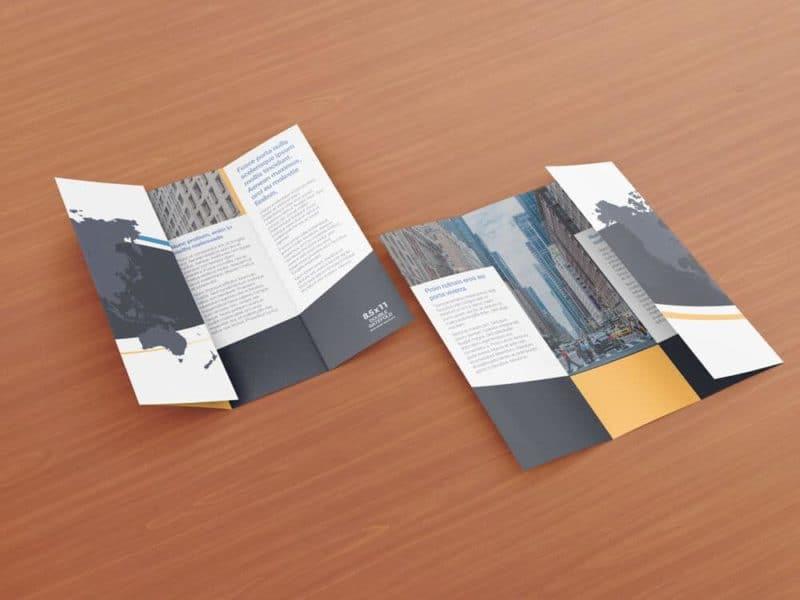 85 x 11 Double Gate Fold Brochure Mockups on Vectogravic Design - double fold brochure