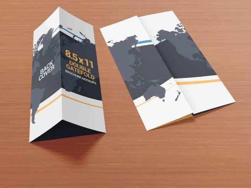 85 x 11 Double Gate Fold Brochure Mockups on Vectogravic Design - gate fold brochure mockup