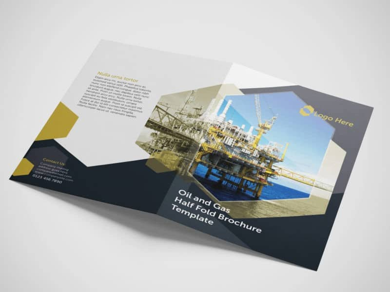 Half Fold Oil and Gas Brochure Template on Vectogravic Design - half fold brochure template
