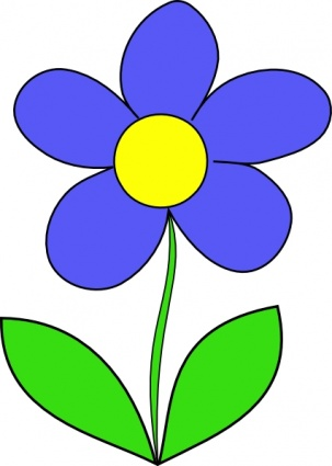 Free download of Green Blue Simple Outline Yellow Drawing Flower