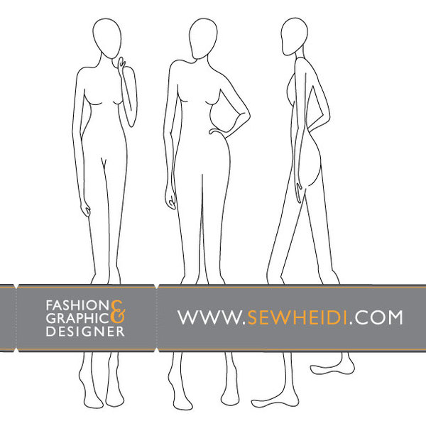 Free download of Female Fashion Croquis / Blank Fashion Sketches - blank fashion design templates