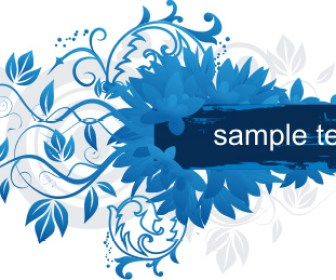 Blue Floral Frame Label