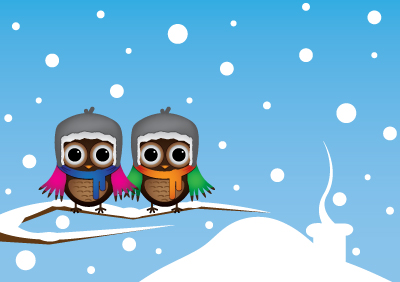 Cute Christmas Owl Desktop Wallpaper Owls On Branch Free Vector Art