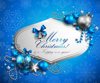 Merry Christmas Decoration Blue Card