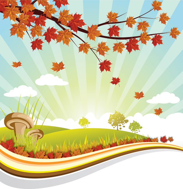Fall Leaves Wallpaper Free Autumn Landscape Illustration Vector Background Free