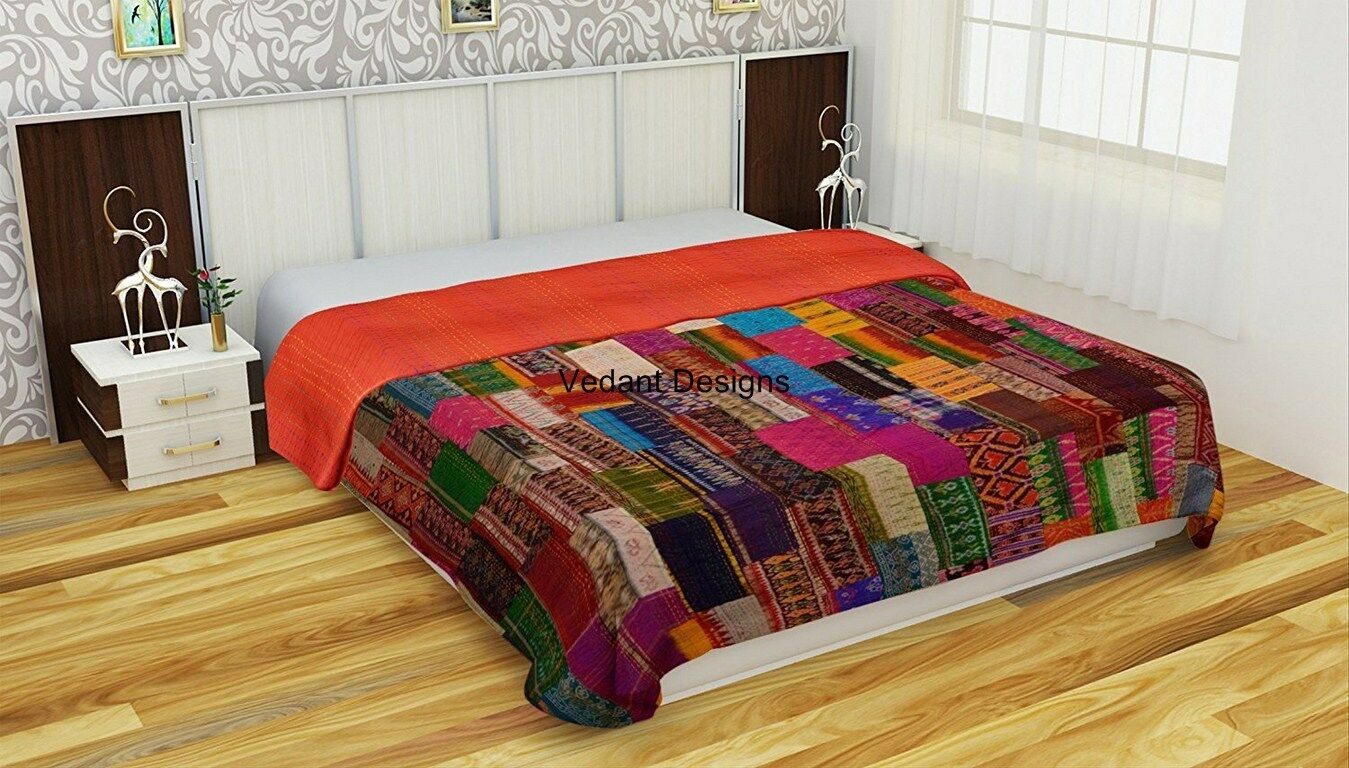 Coverlets For Sale Silk Patola Patchwork Indian Handmade Queen Cotton Kantha Quilt Throw Bedspread