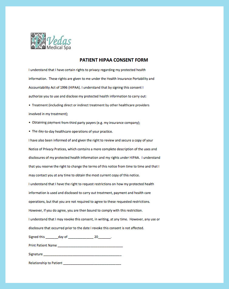 New Patient Forms - Vedas Medical Spa and Wellness Center - hipaa consent forms