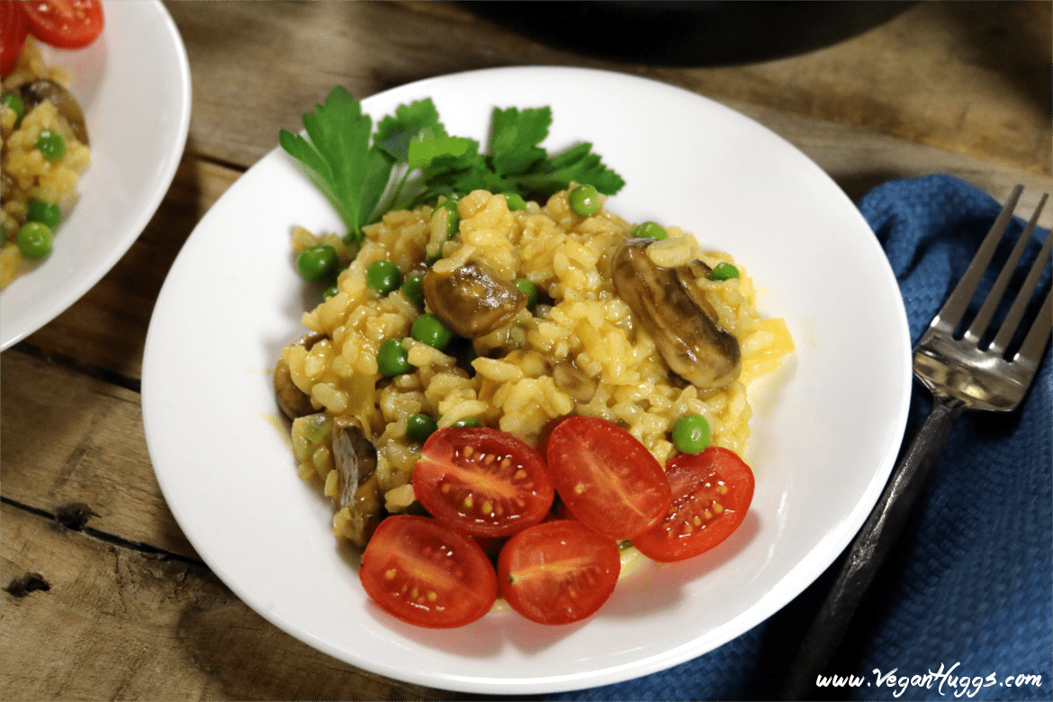 This Vegan Mushroom Risotto is so rich & creamy, but it doesn't have any cream. It's comforting, cozy & oh-so satisfying!