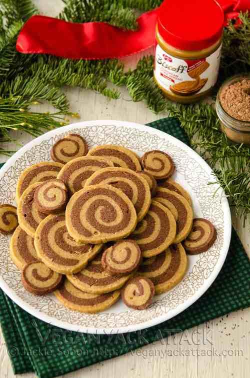 Biscoff Chocolate Pinwheel Cookies vegan