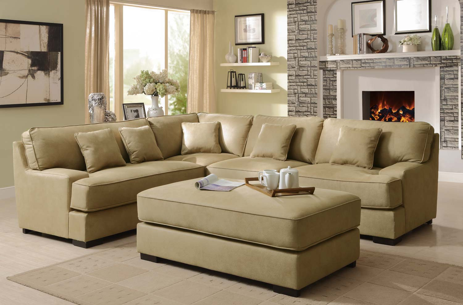 Lounge Couch Company Minnis Camel Fabric Sectional Las Vegas Furniture Store