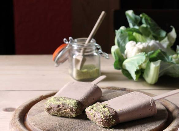 Cauliflower and Chocolate Ice Lollies with Pistachio Dust | Veggie Desserts