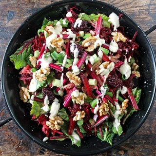 Beet, Blackberry and Apple Salad with Lemon Tahini Dressing | Veggie Desserts Blog