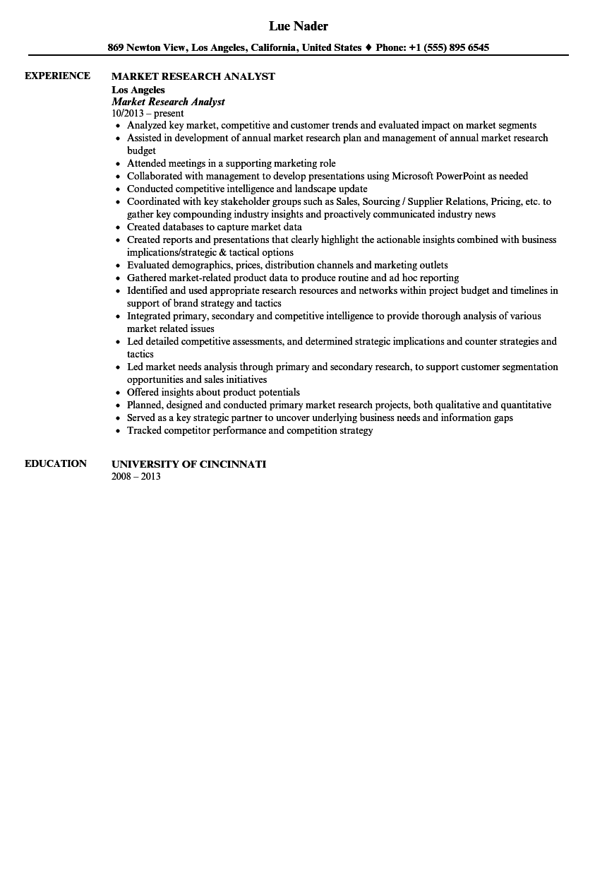 market research resumes sample