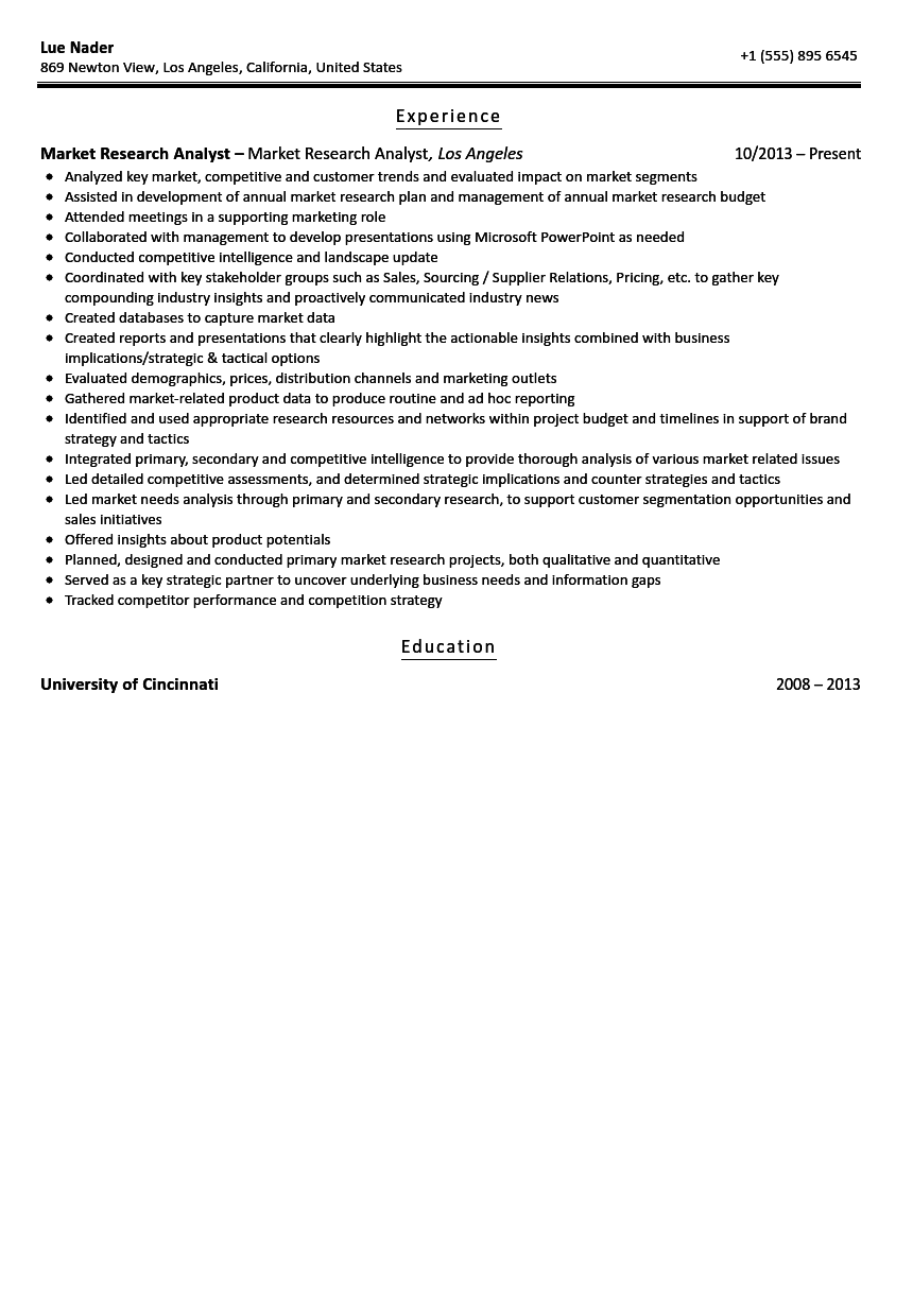 business research analyst resume sample