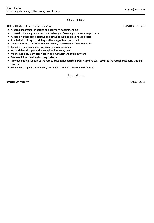 clerk office resume sample