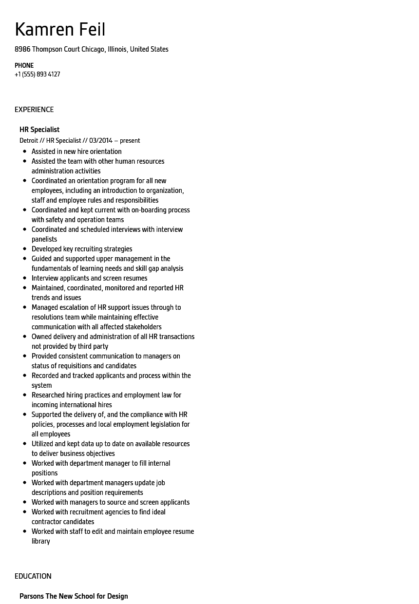 human resources specialist resume examples