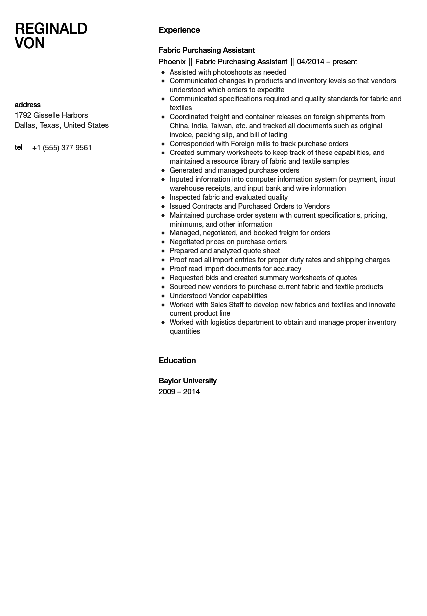 resume samples for sales assistant