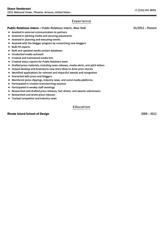 sample resume public relations intern