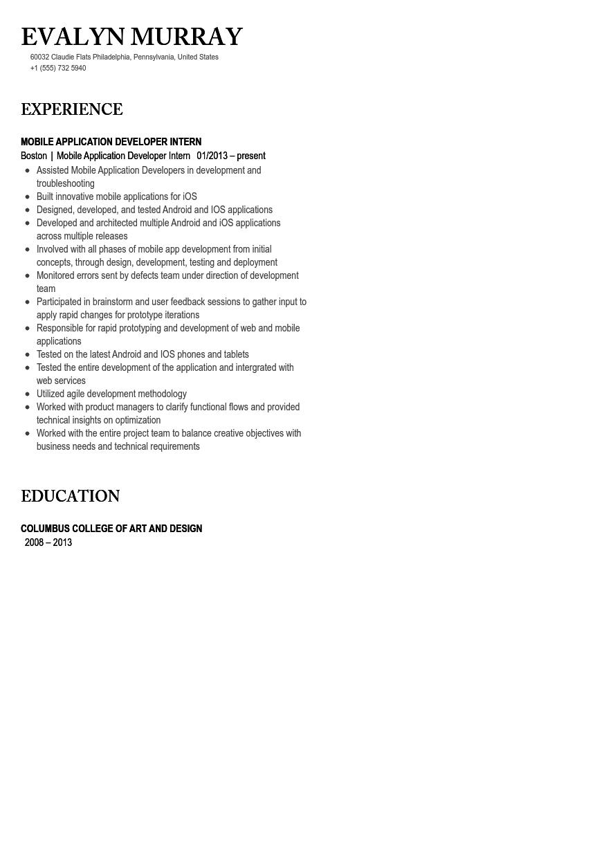 mobile developer intern resume sample