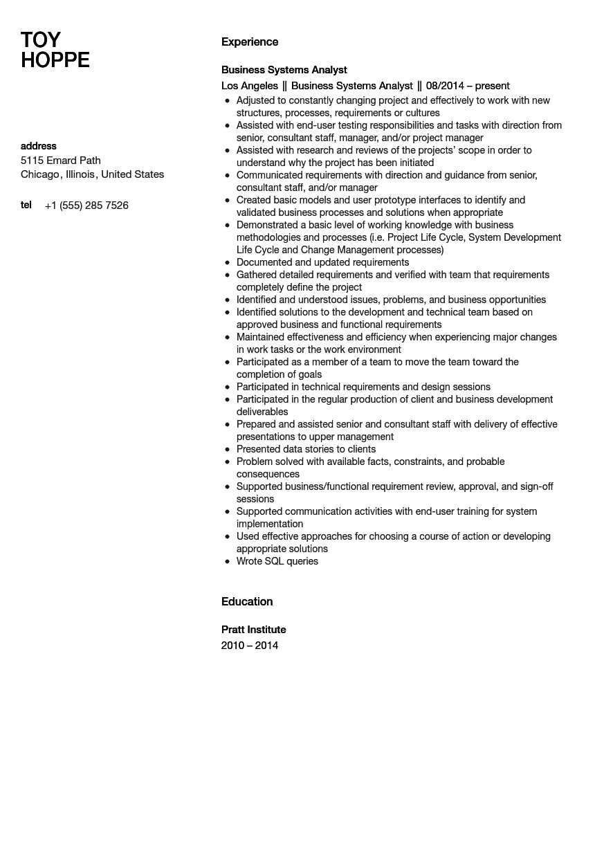 sample management business analyst resume