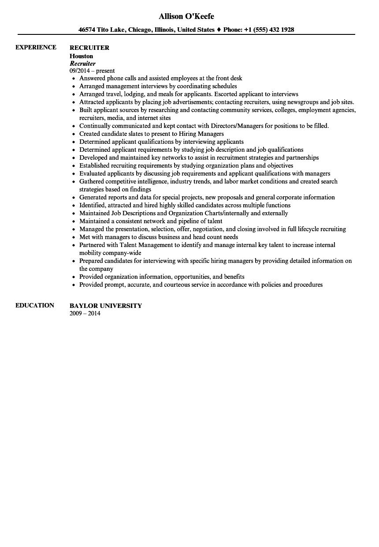 recruiter specialist resume sample