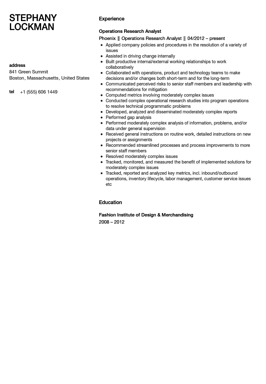 operations research resume sample