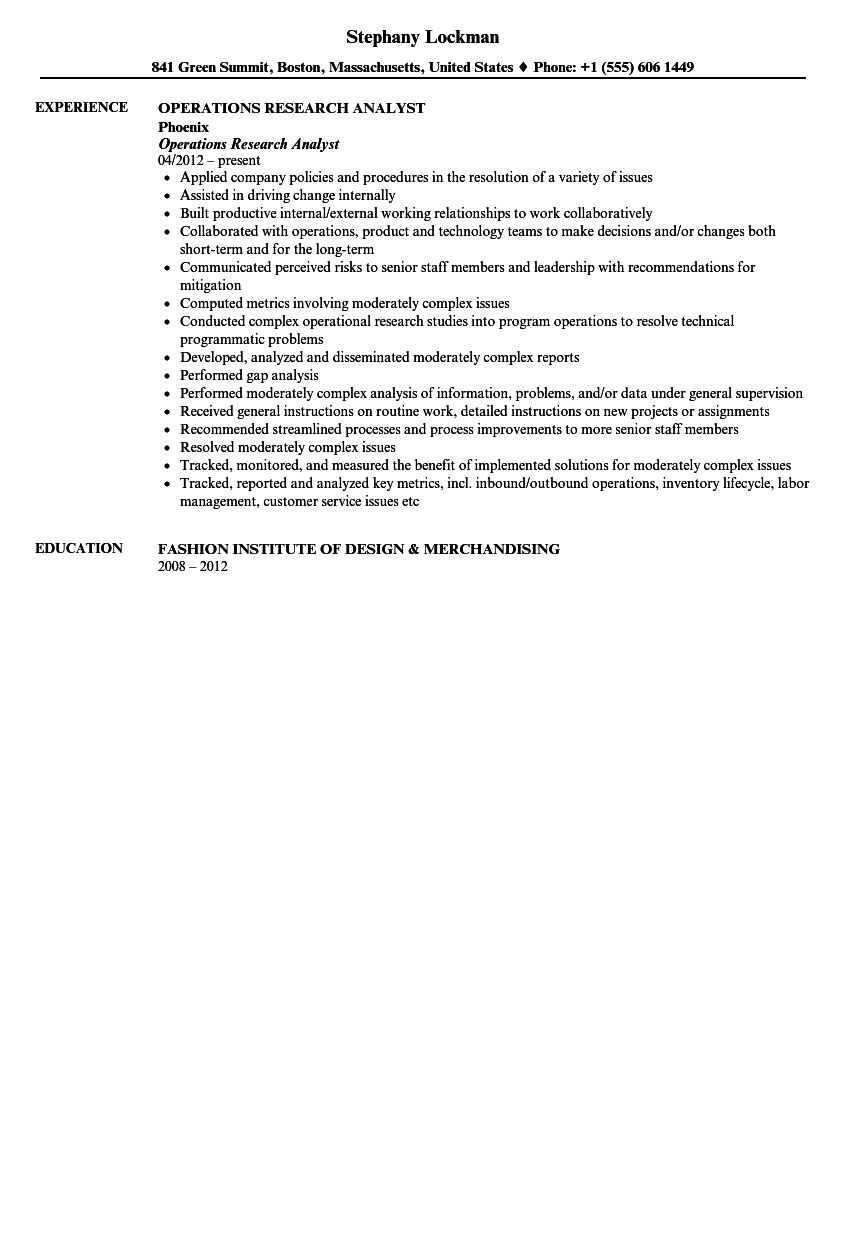 operations research resume examples