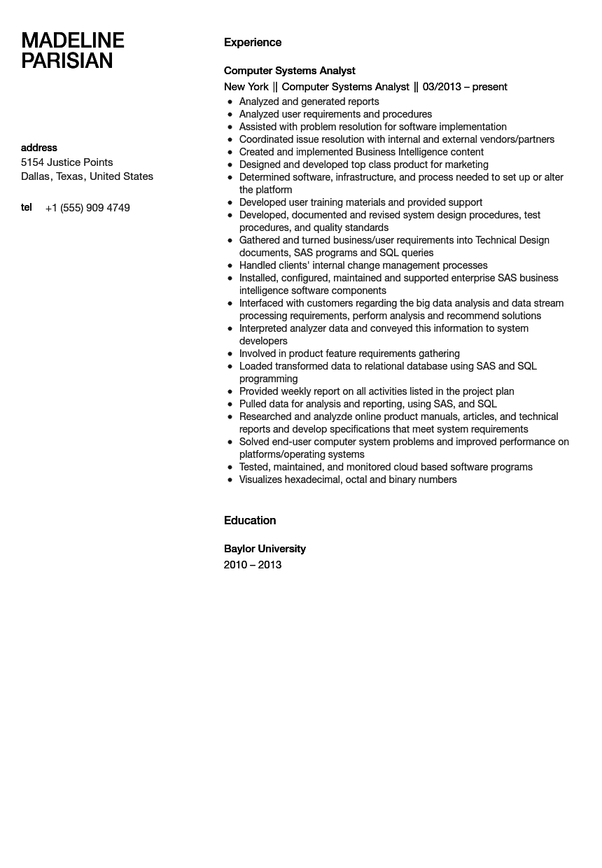resume sample for computer system analyst