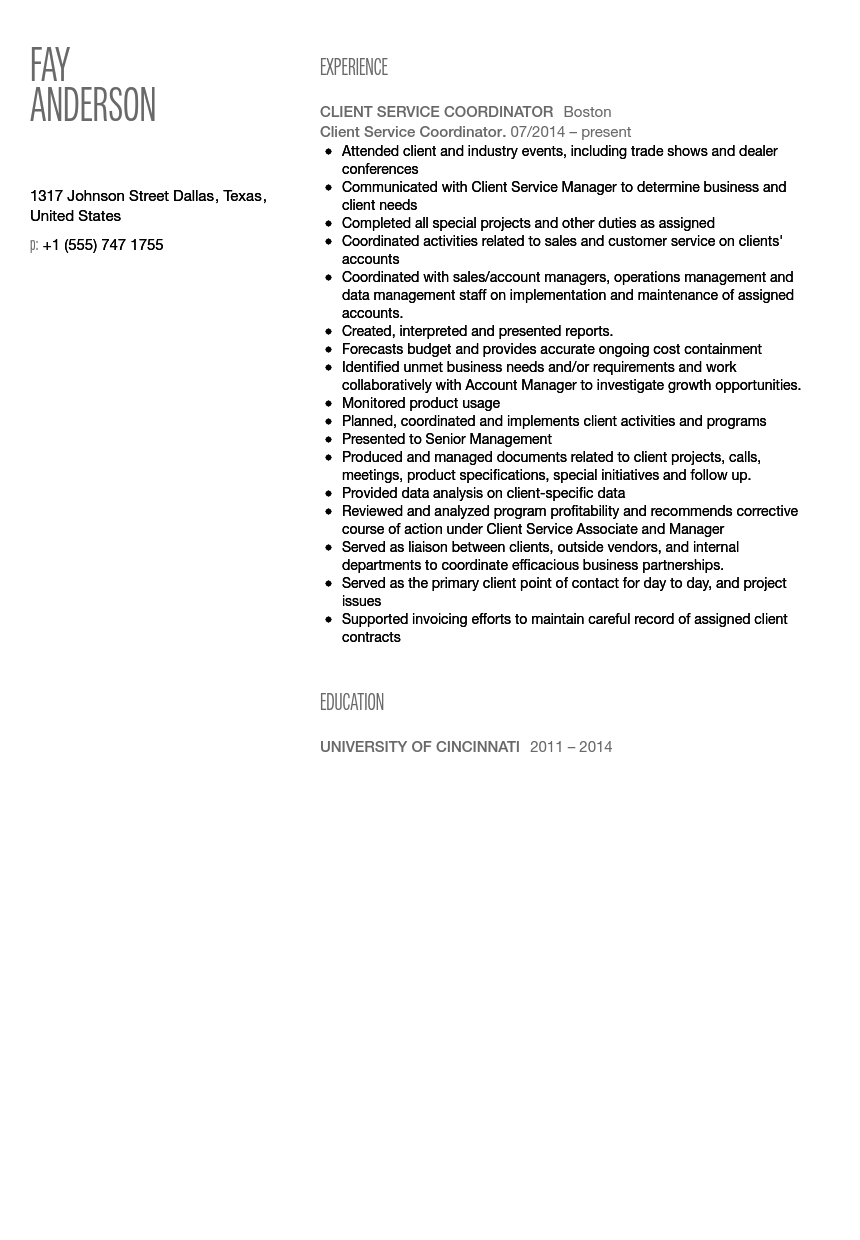 Shift Coordinator Resume Sample Sample Customer Service Resume