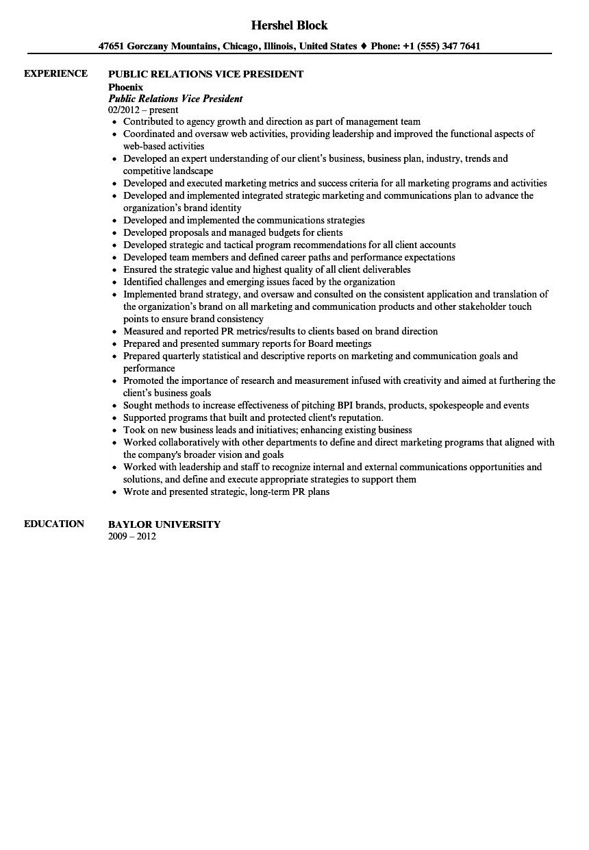 sample resume for direct support staff public relations vice president resume sample velvet jobs