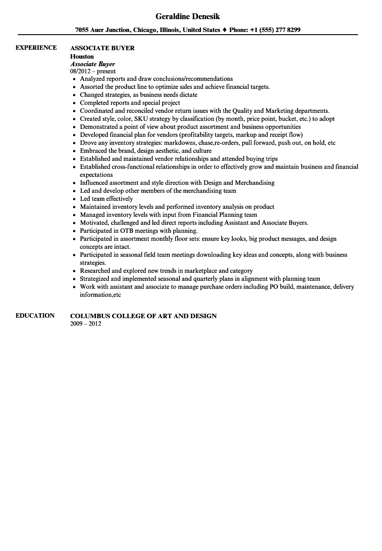 associate buyer resume sample