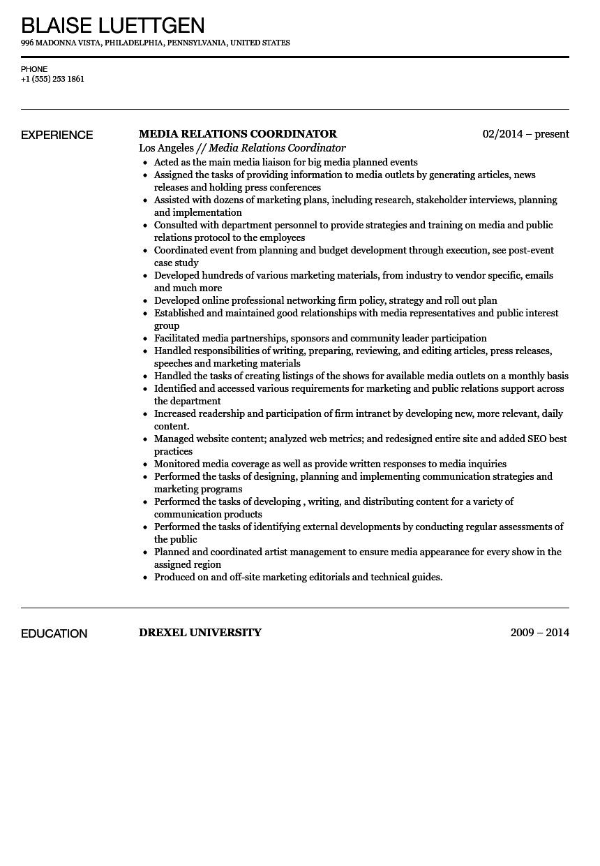 media relations coordinator resume sample