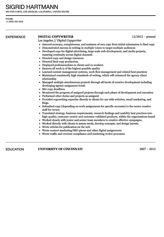 digital writer sample resume