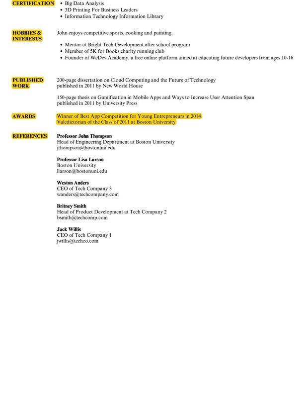 awards resume examples