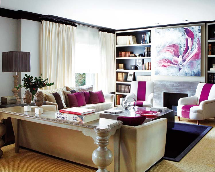 Big Sofa Pink Cream And Fuschia Living Room | Velvet Palette