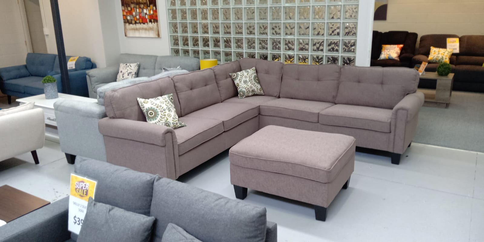 Lounge Suites Blaze Corner Sofa With Ottoman Coffee Colour
